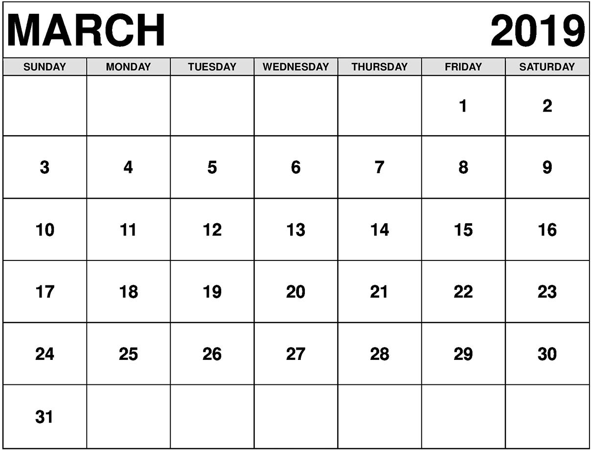 Mar 2019 Calendar Blank