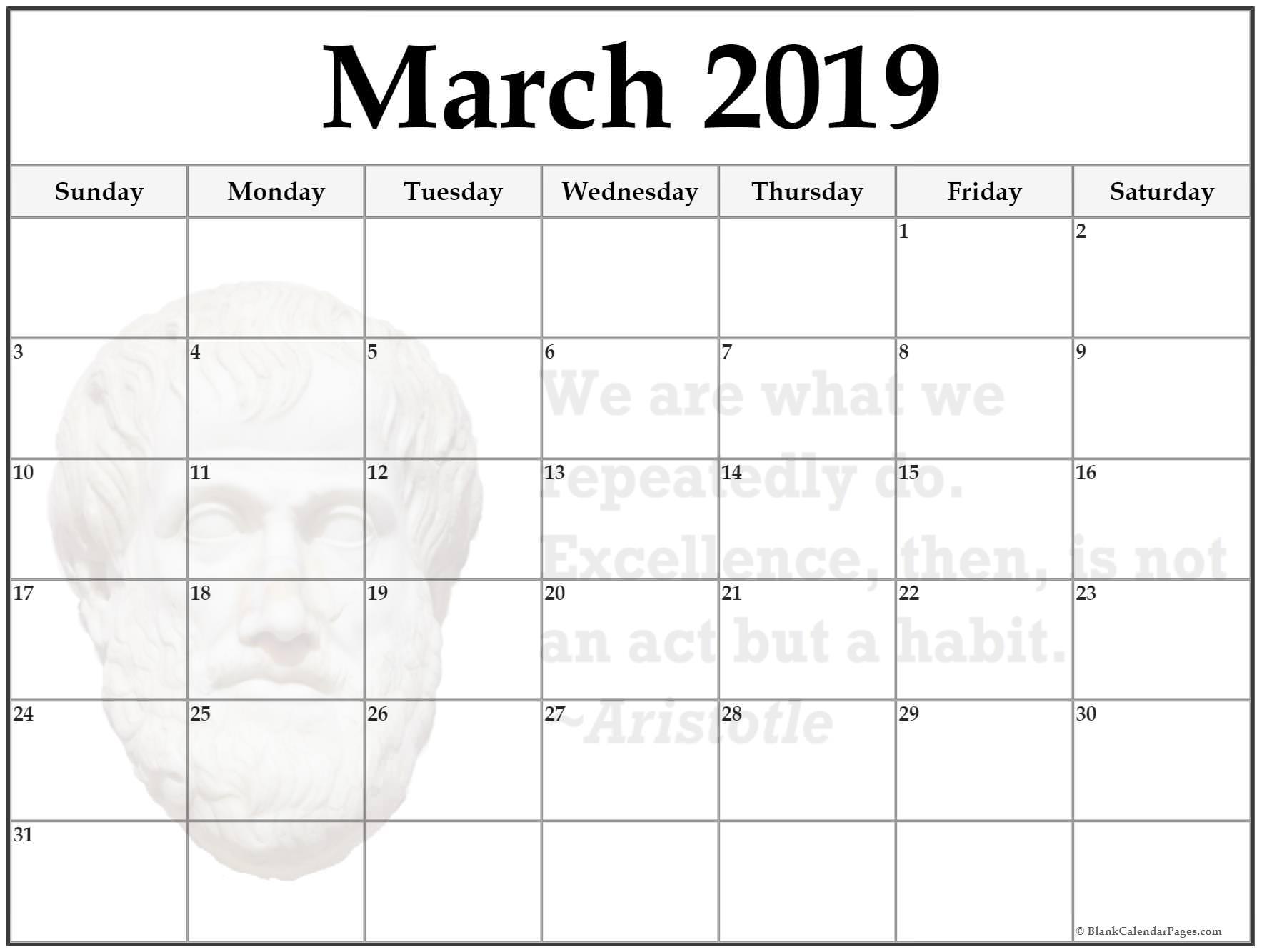 Mar 2019 Calendar Excel