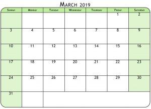 Mar 2019 Calendar Pdf