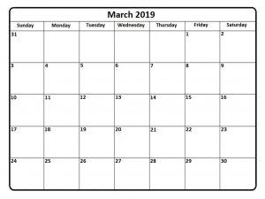 Mar 2019 Calendar Printable
