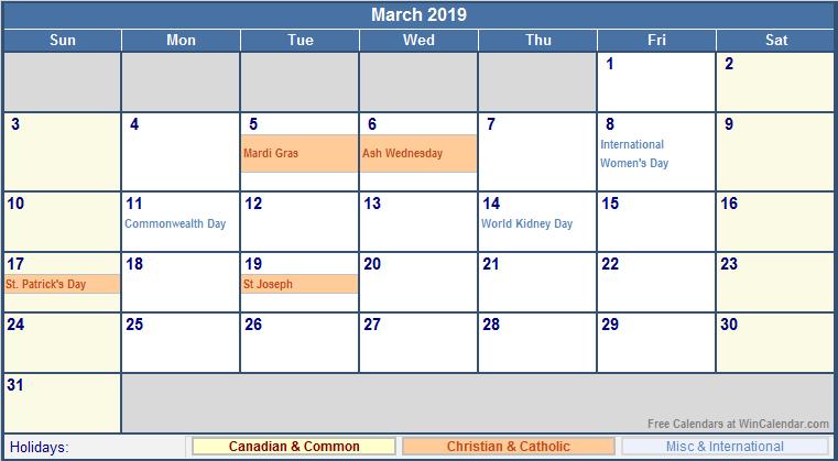 Mar 2019 Calendar With Holidays