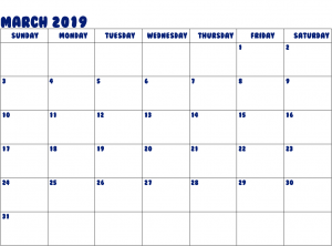 Mar 2019 Calendar Word