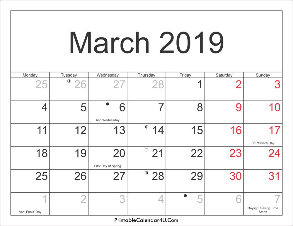 Mar 2019 Holidays Calendar