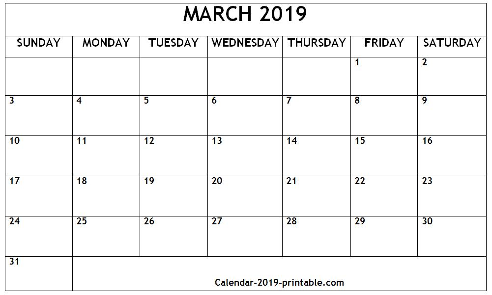 Mar 2019 Printable Calendar