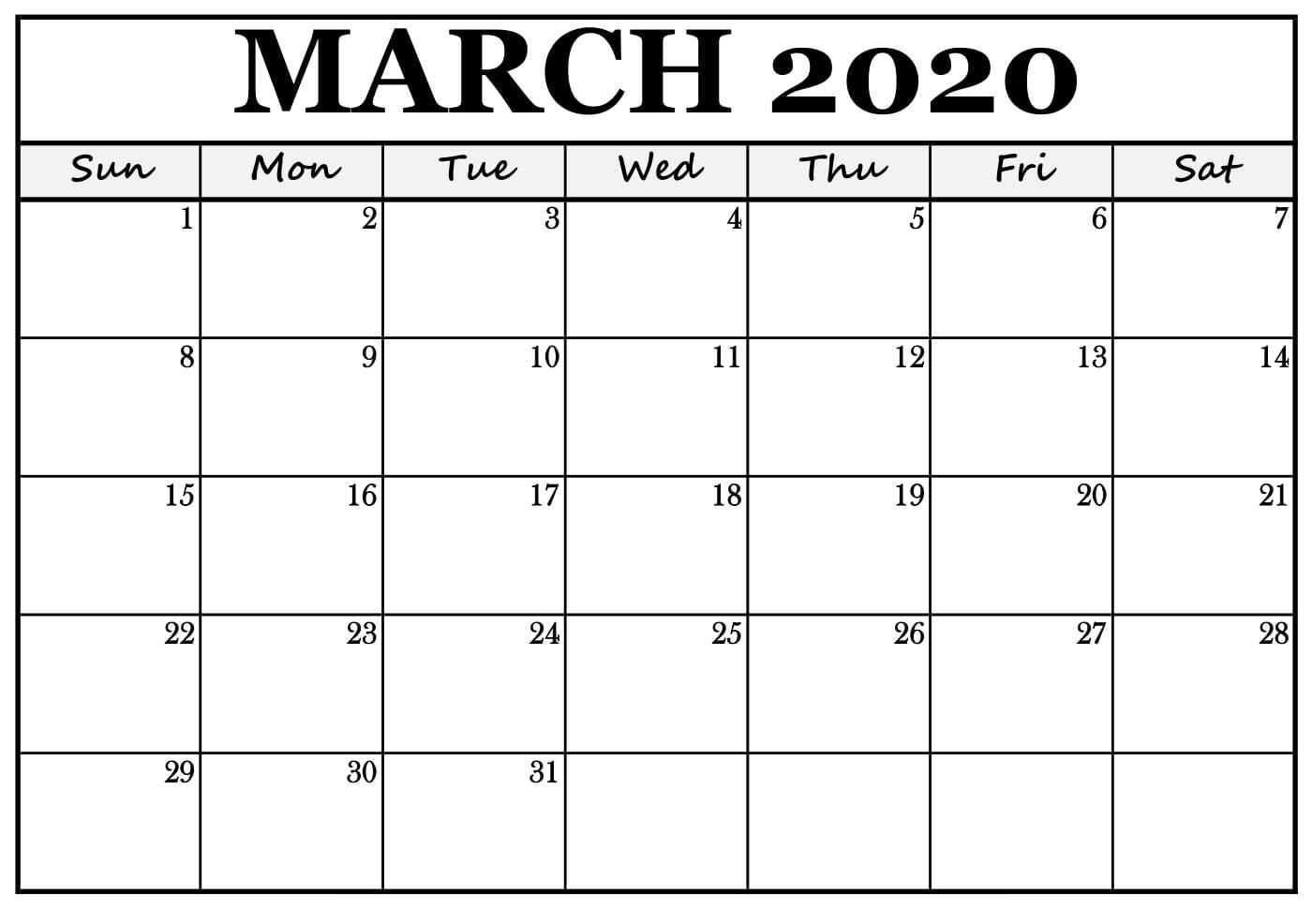 Mar 2020 Calendar Template