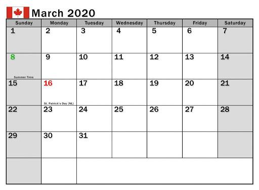 Mar 2020 Calendar with Holidays Canada