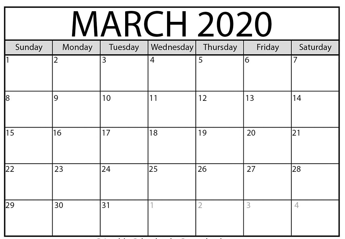 Mar 2020 Calendar