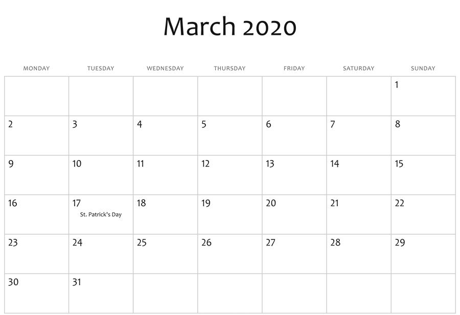 Mar 2020 Editable Calendar Template