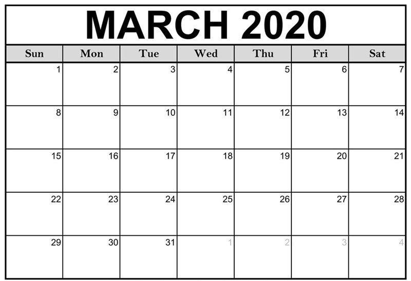 Mar 2020 Printable Calendar