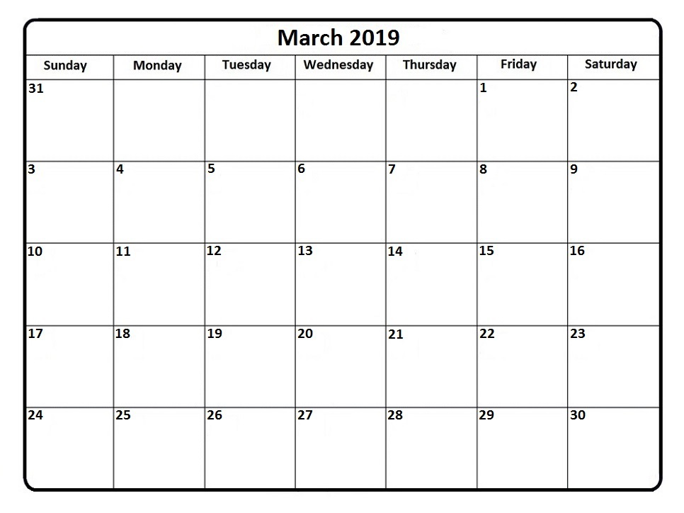 Mar Calendar 2019