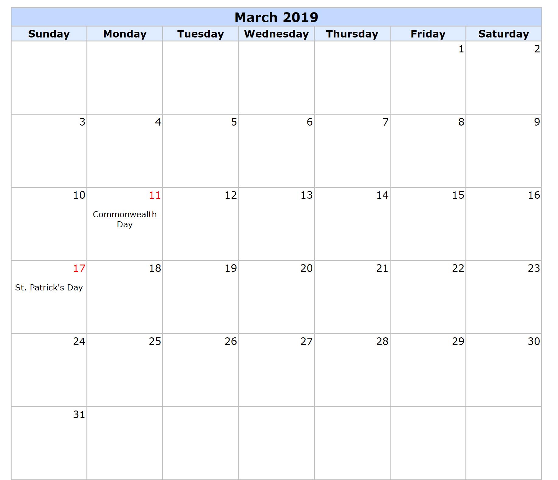 March 2019 Calendar Canada Printable