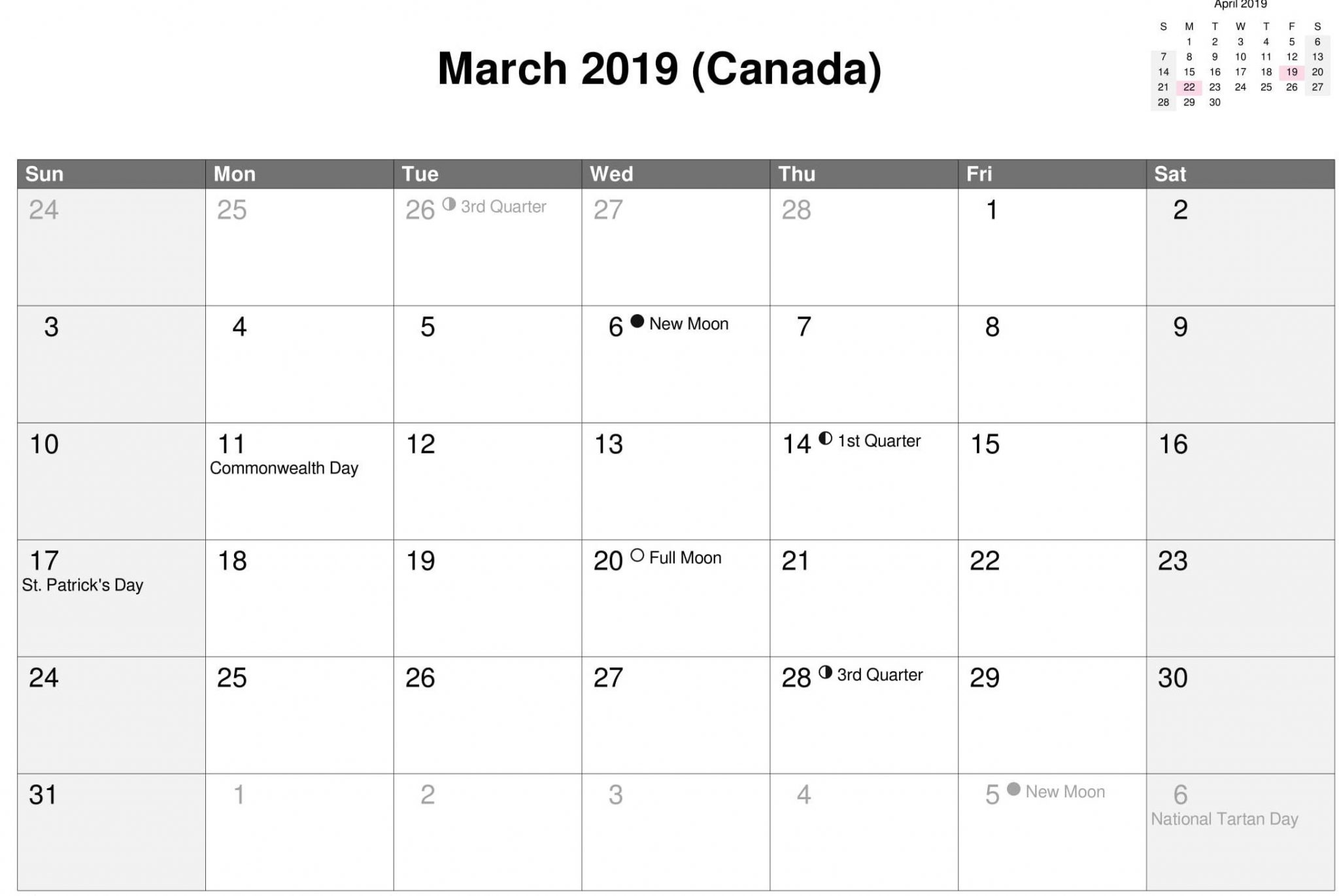 March 2019 Calendar Canada With Moon Phases