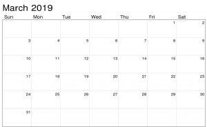 March 2019 Calendar Word