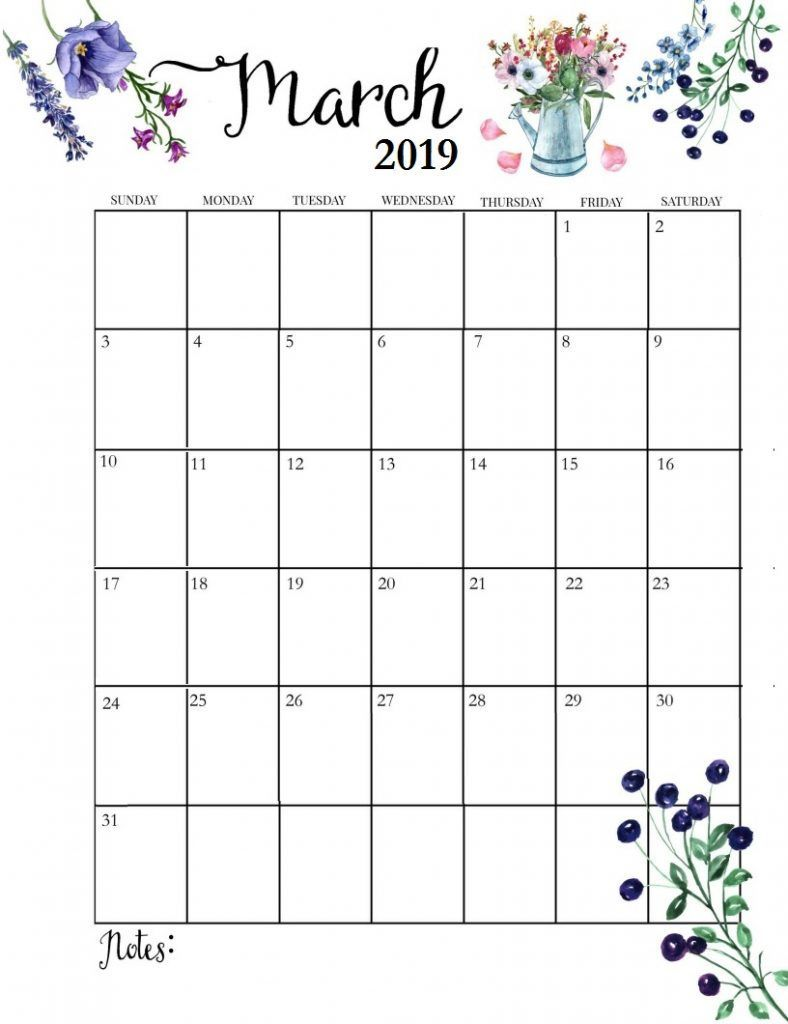 Cute March 2019 Calendar Printable Hd Wallpaper Floral Design