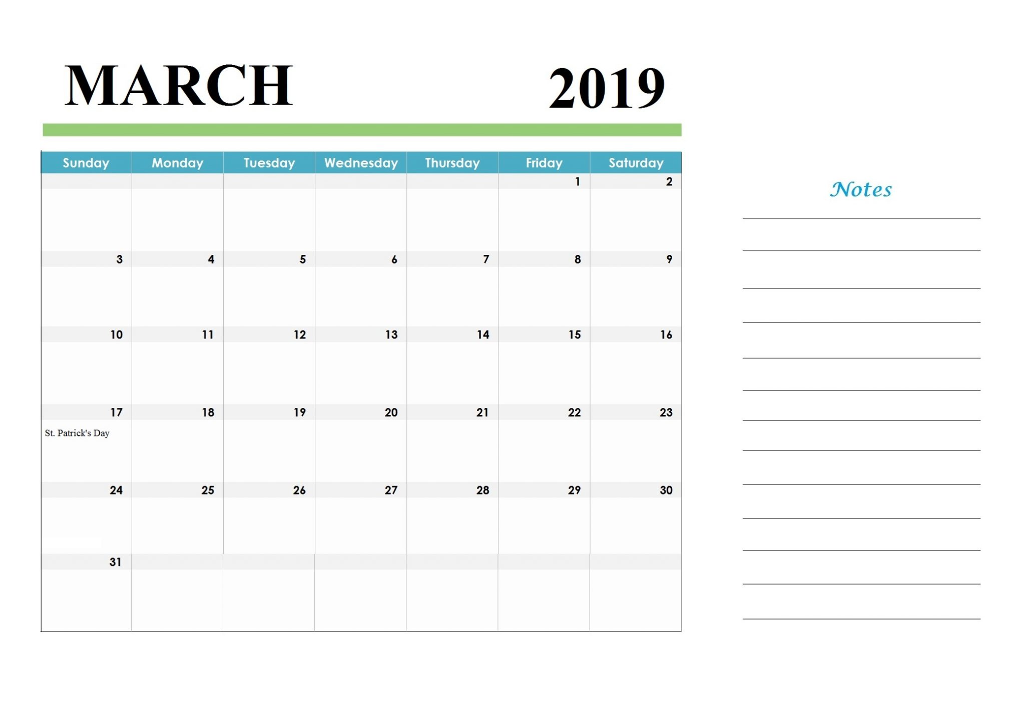 March 2019 Editable Desk Calendar