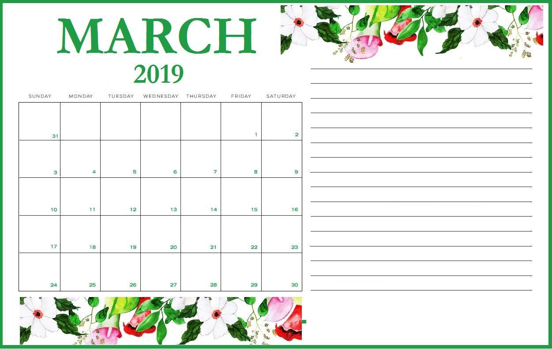 March 2019 Wall Calendar Template