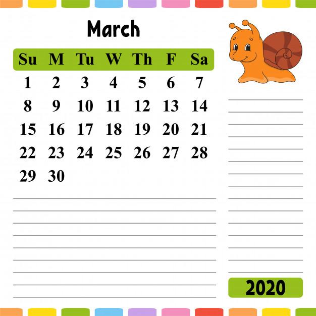 March 2020 Calendar for Kids