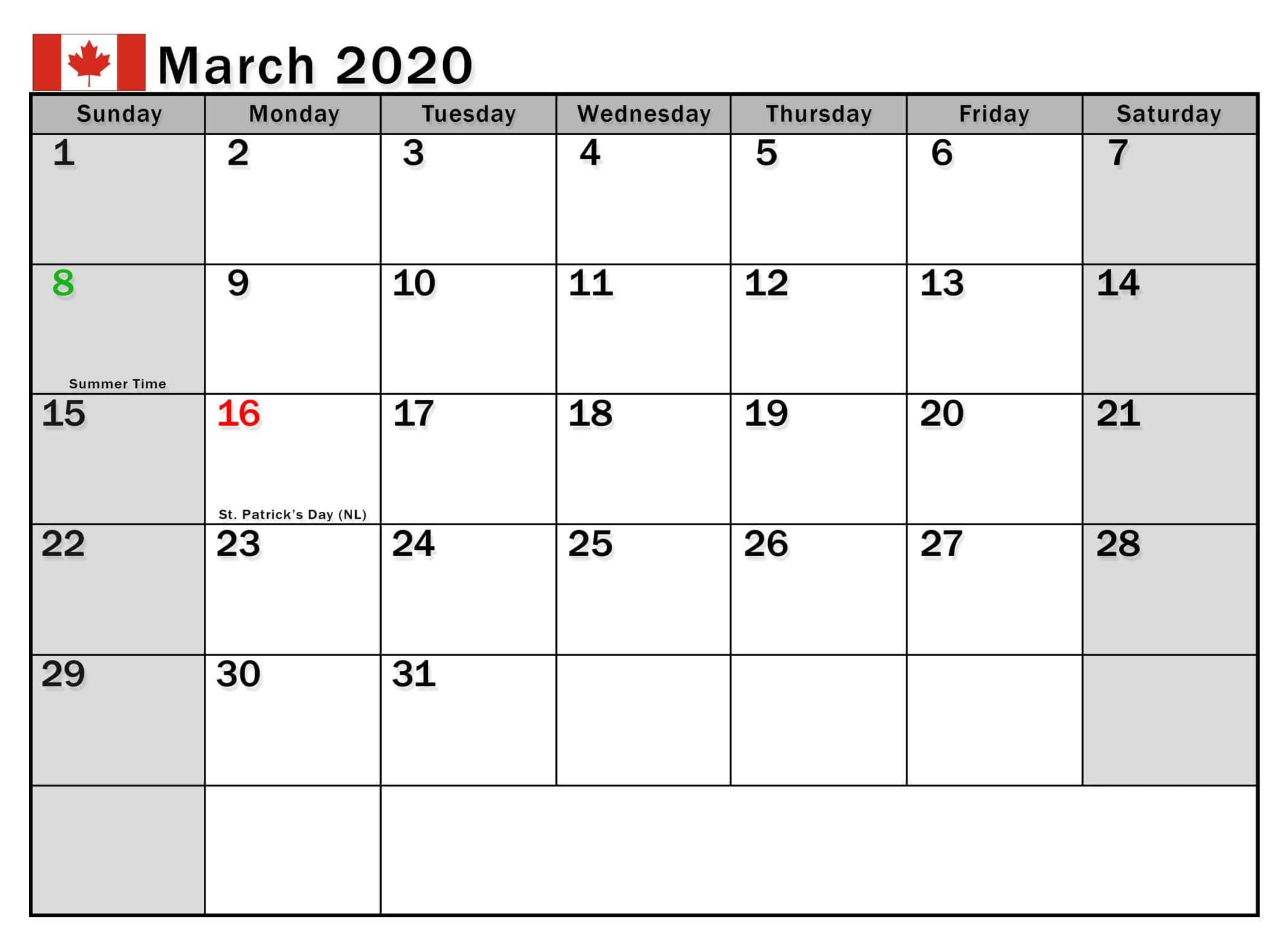 March 2020 Canada Calendar With Holidays