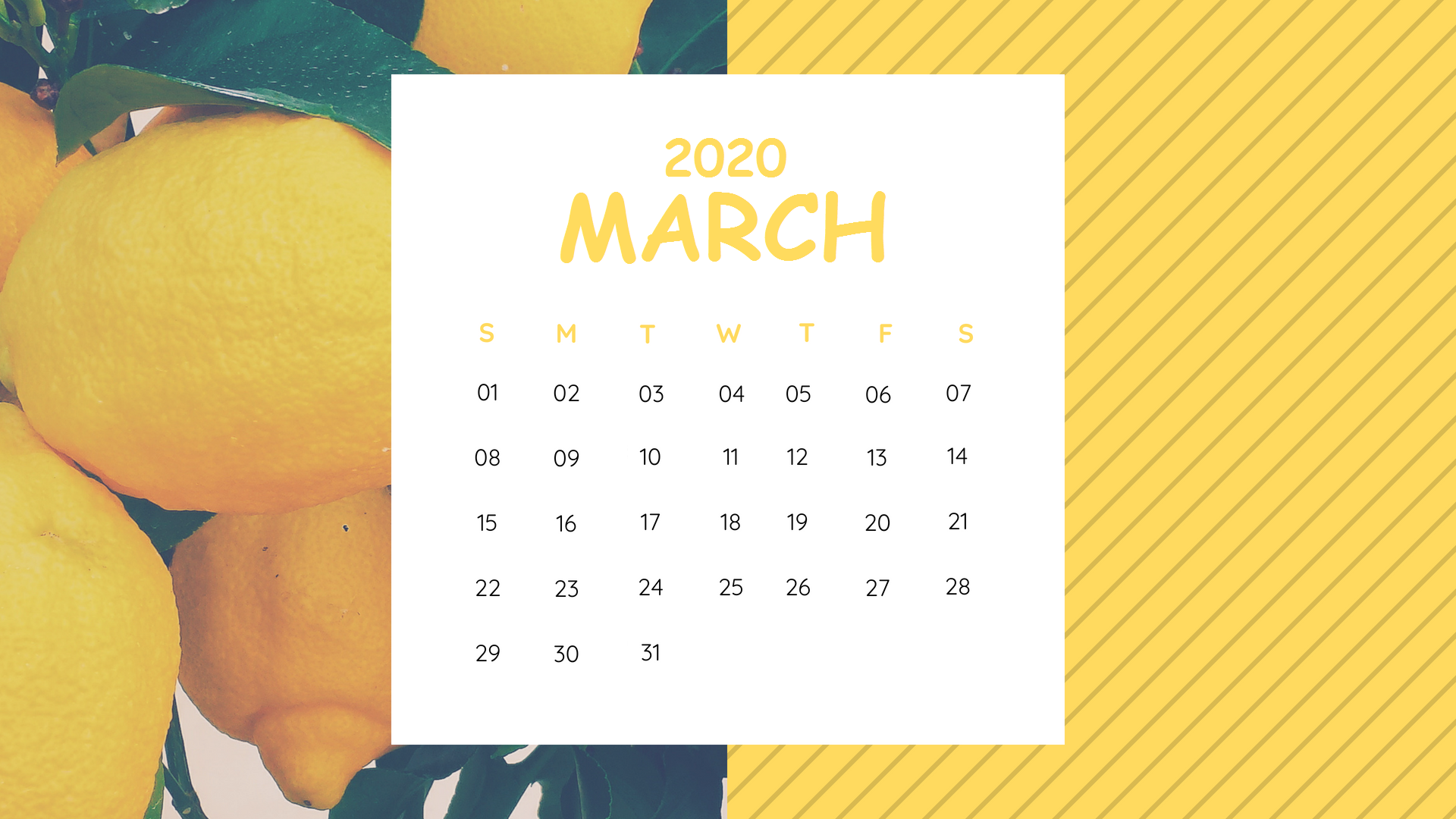 March 2020 Desktop Calendar Wallpaper