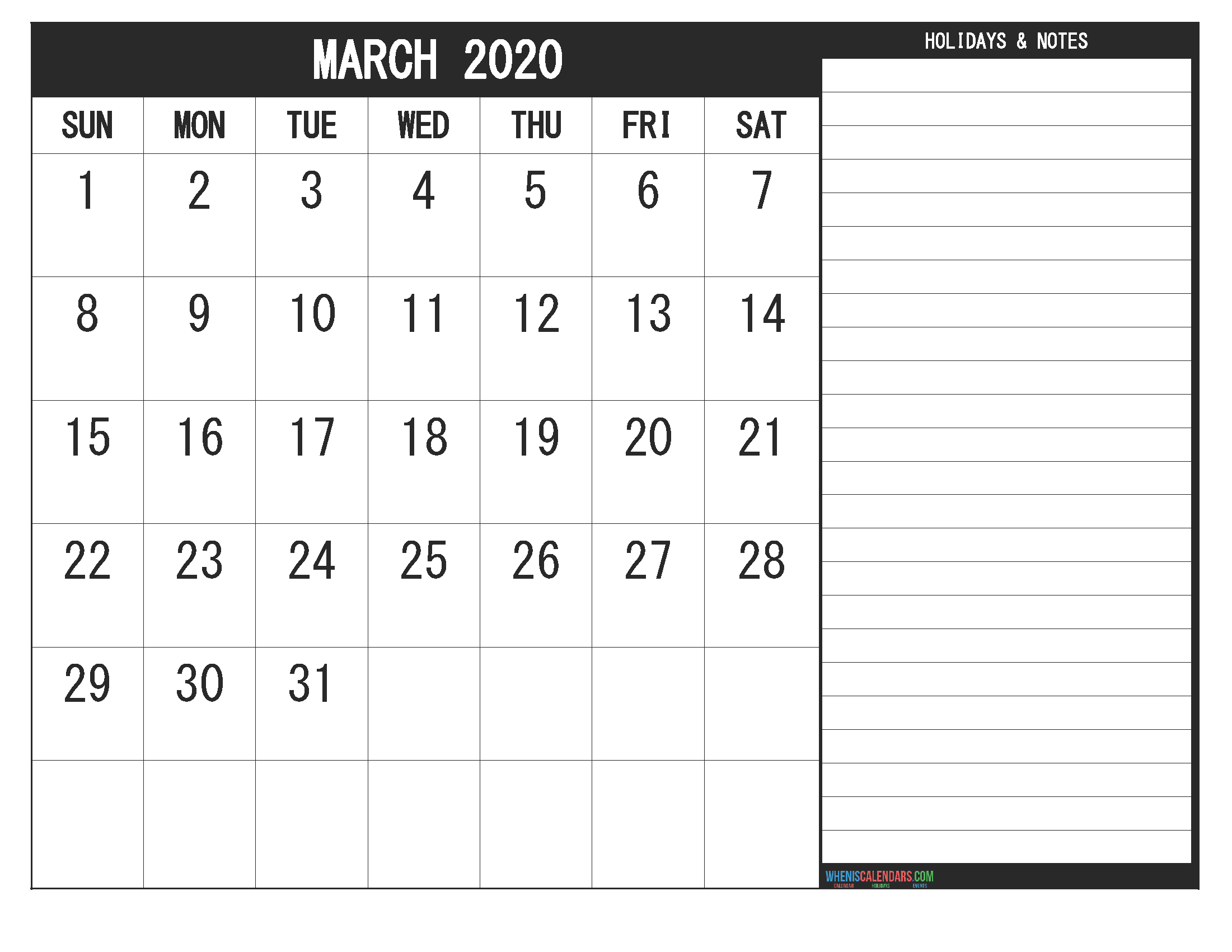 March 2020 Fillable Calendar