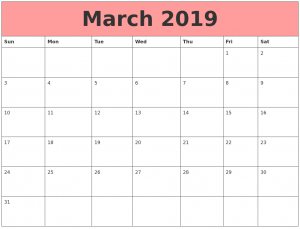 Monthly Calendar For March 2019