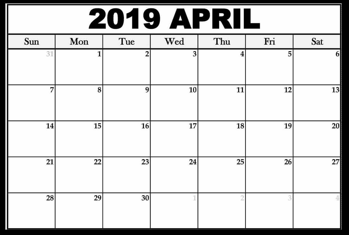 Monthly Calendar Template April 2019