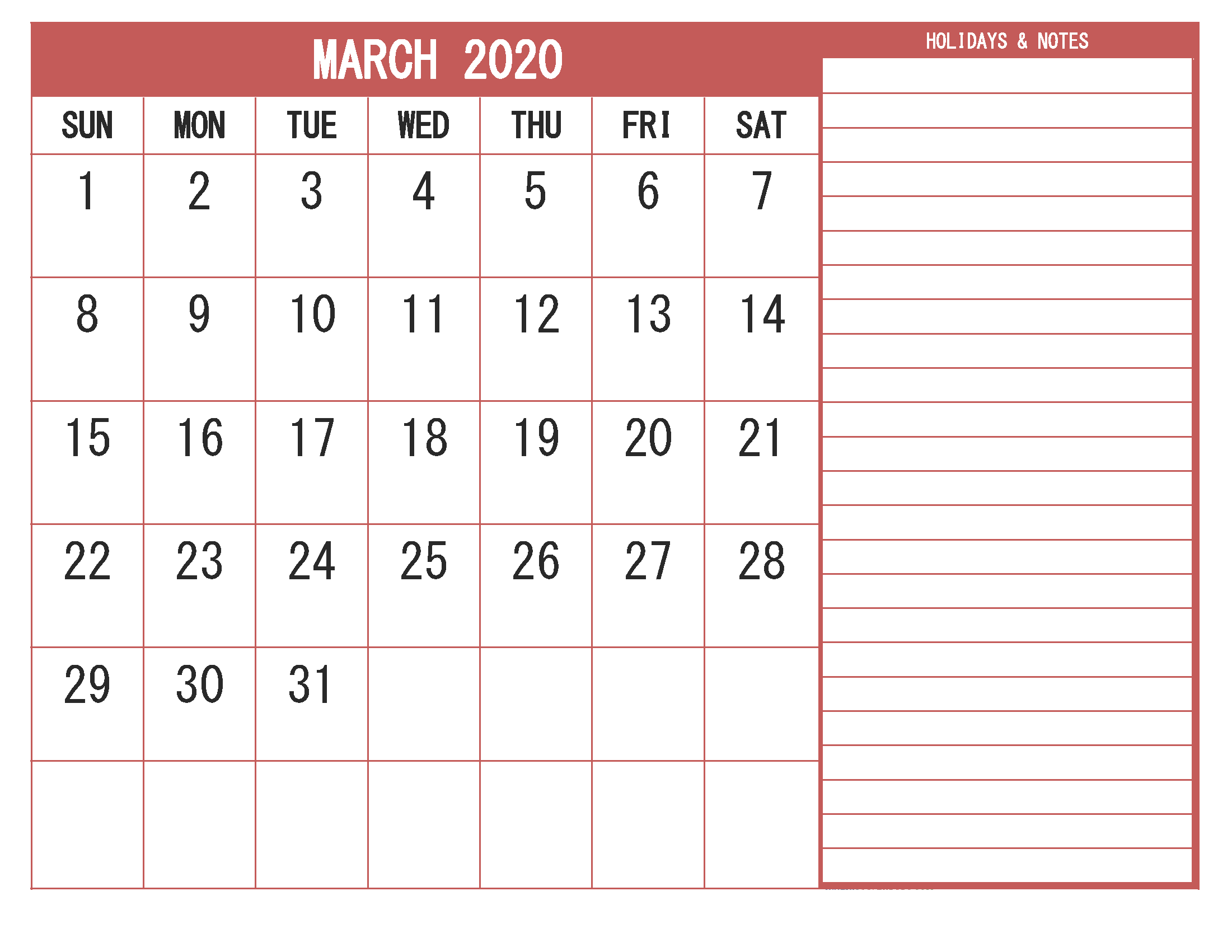 Monthly March 2020 Calendar with Notes