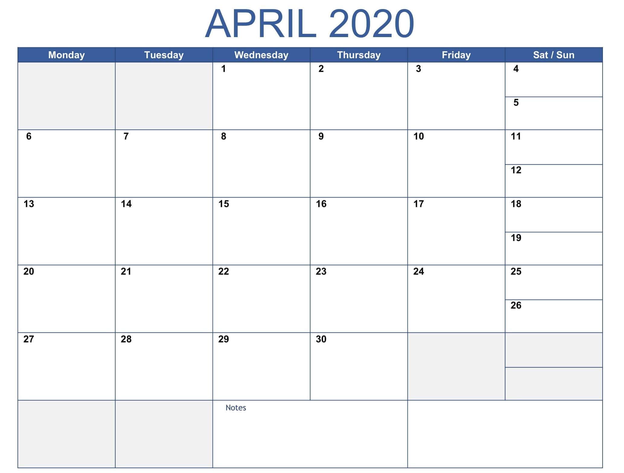 Print April 2020 Calendar Template