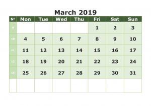 Print Calendar For March 2019