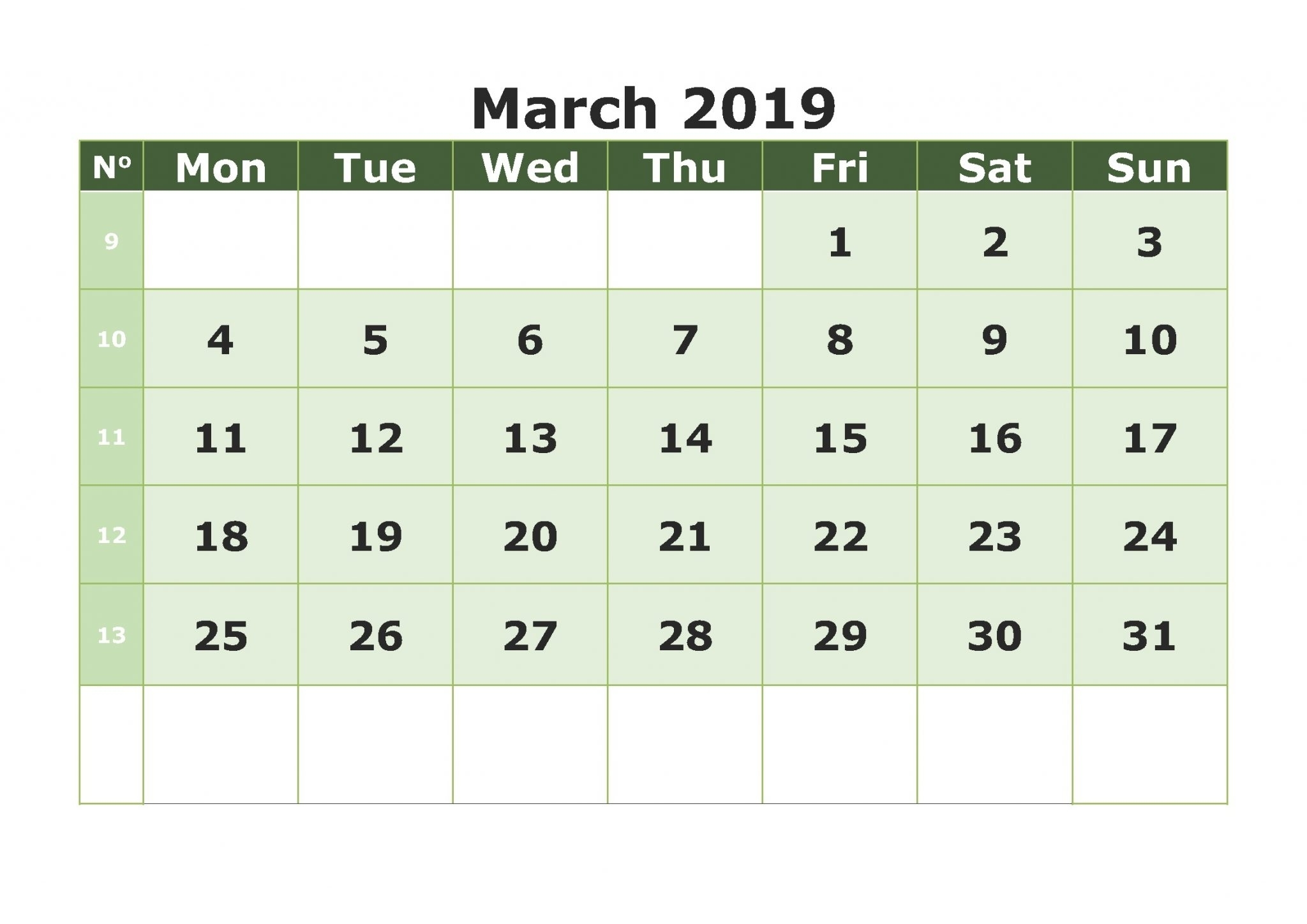 Print Calendar For March 2019
