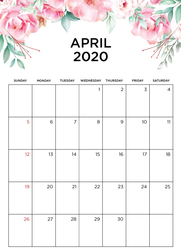 Printable April 2020 Monthly Calendar