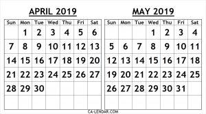 Printable April May 2019 Calendar Template