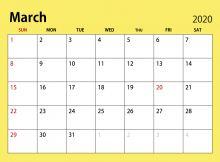 Printable Calendar For March 2020