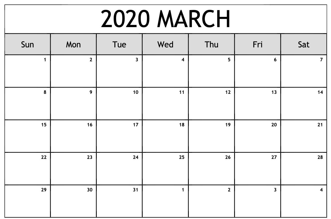 Printable Calendar Mar 2020