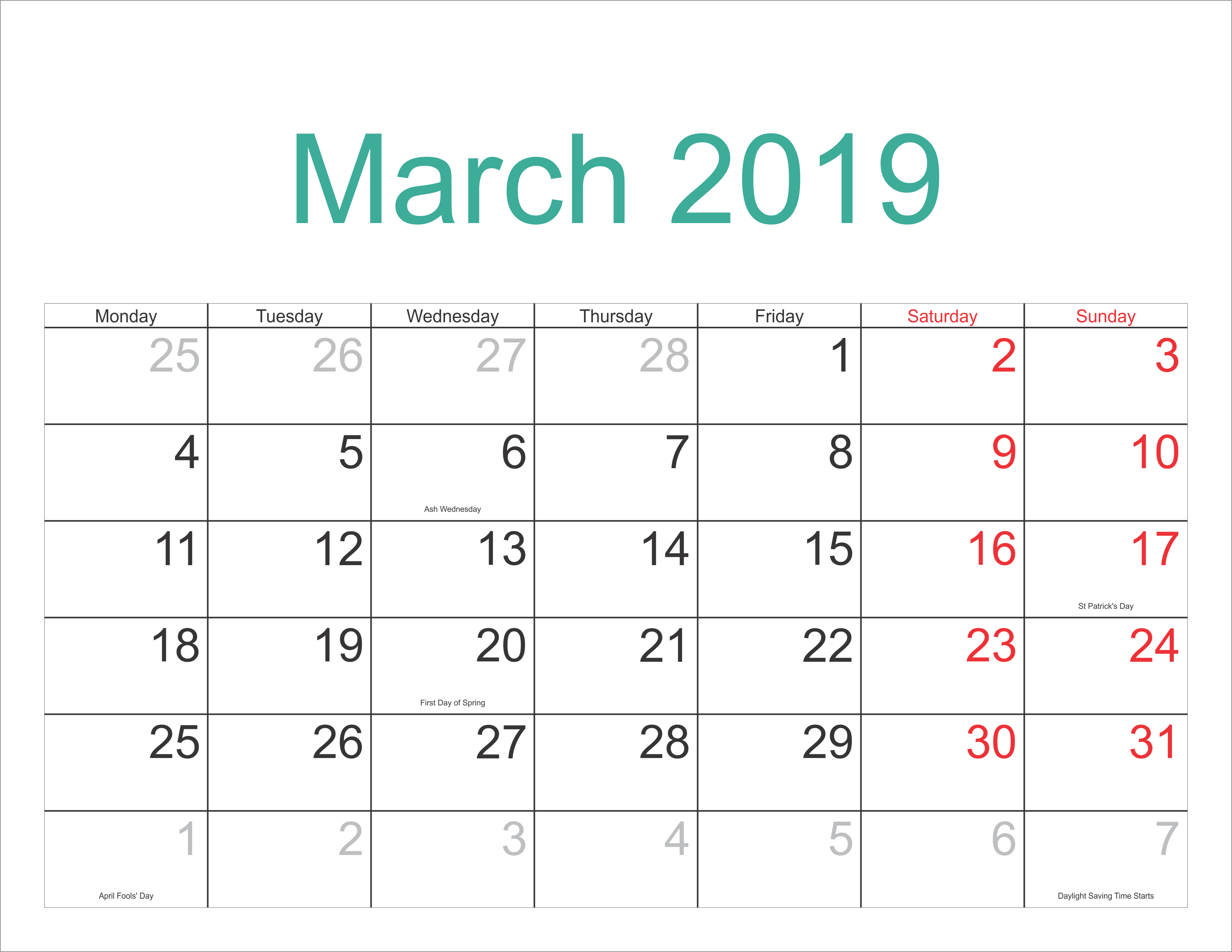 Printable Mar 2019 Calendar With Holidays