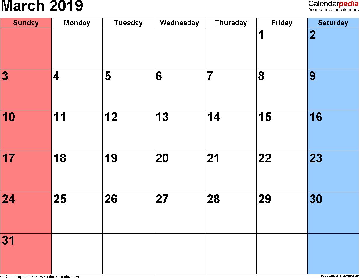 Printable Mar 2019 Calendar