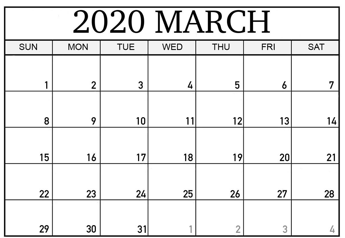 Printable Mar 2020 Calendar