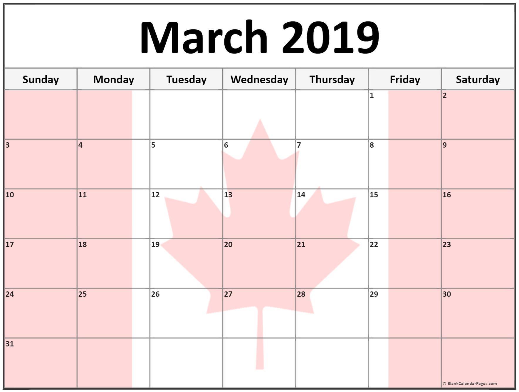 Printable March 2019 Calendar Canada
