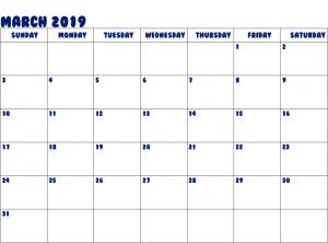 Printable March 2019 Editable Calendar