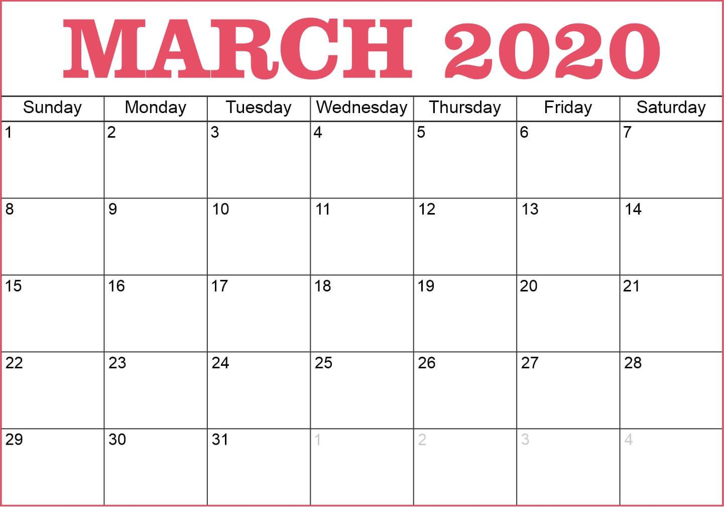 Printable March 2020 Calendar Template
