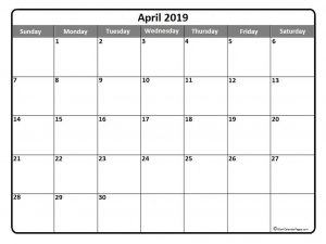 Printable Monthly Calendar April 2019