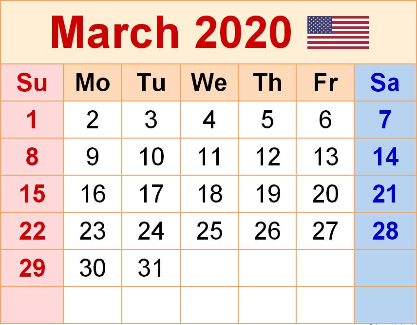 USA March 2020 Holidays Calendar