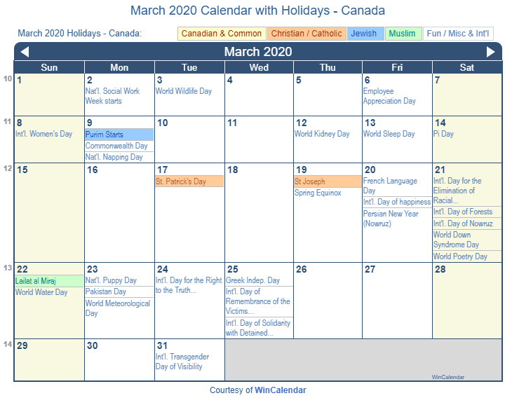 march 2020 calendar canada with Holidays