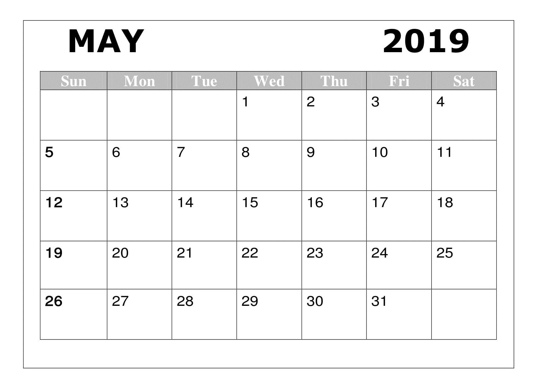 2019 May Calendar Template