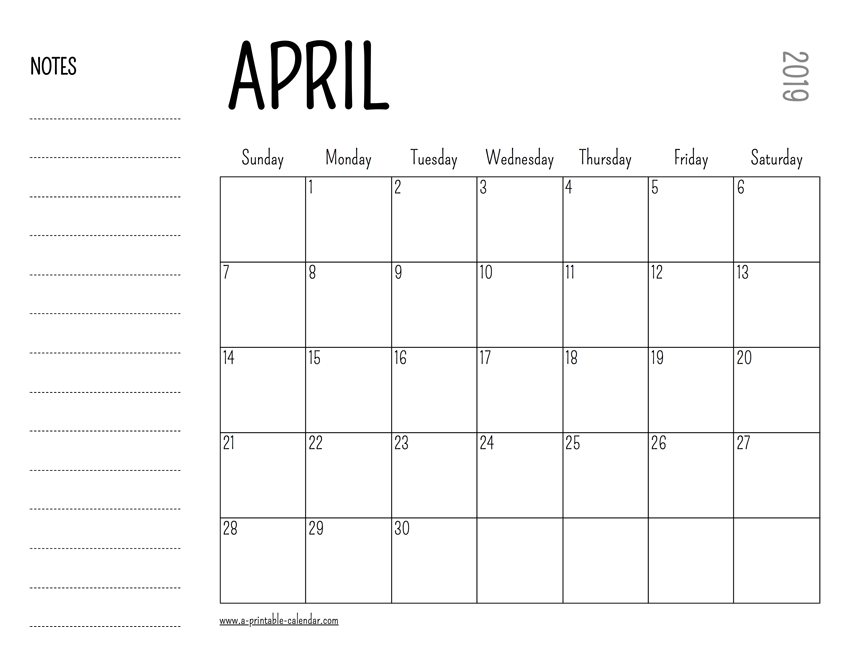 April 2019 Blank Calendar With Notes