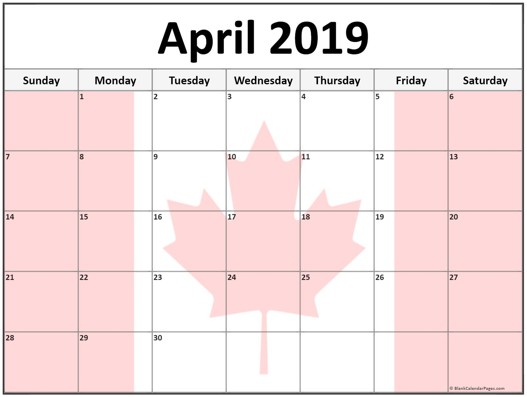 April 2019 Calendar Canada With National Bank And Public Holidays