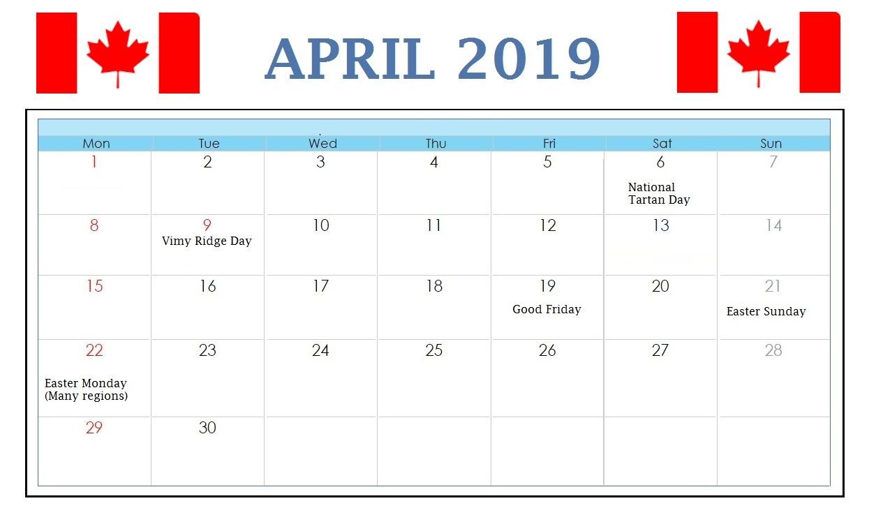 April 2019 Calendar Canada With Holidays