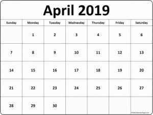 April 2019 Calendar Template Editable