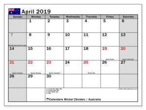 April 2019 Calendar With Holidays Australia