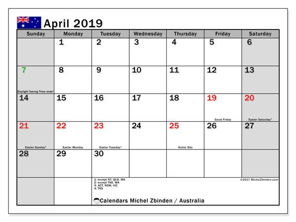 April 2019 Calendar With Holidays Australia
